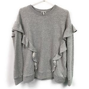 Joie Agnia Romantic Ruffle Sweatshirt - Gray